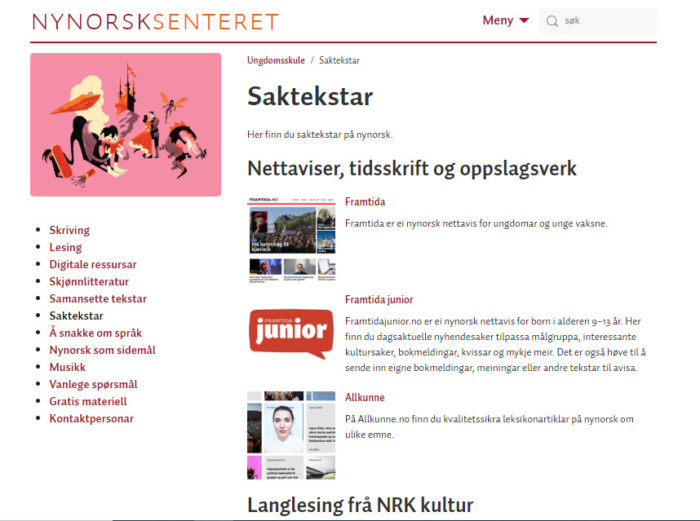 Nynorsksenteret Skjermdump Frå Nettsida